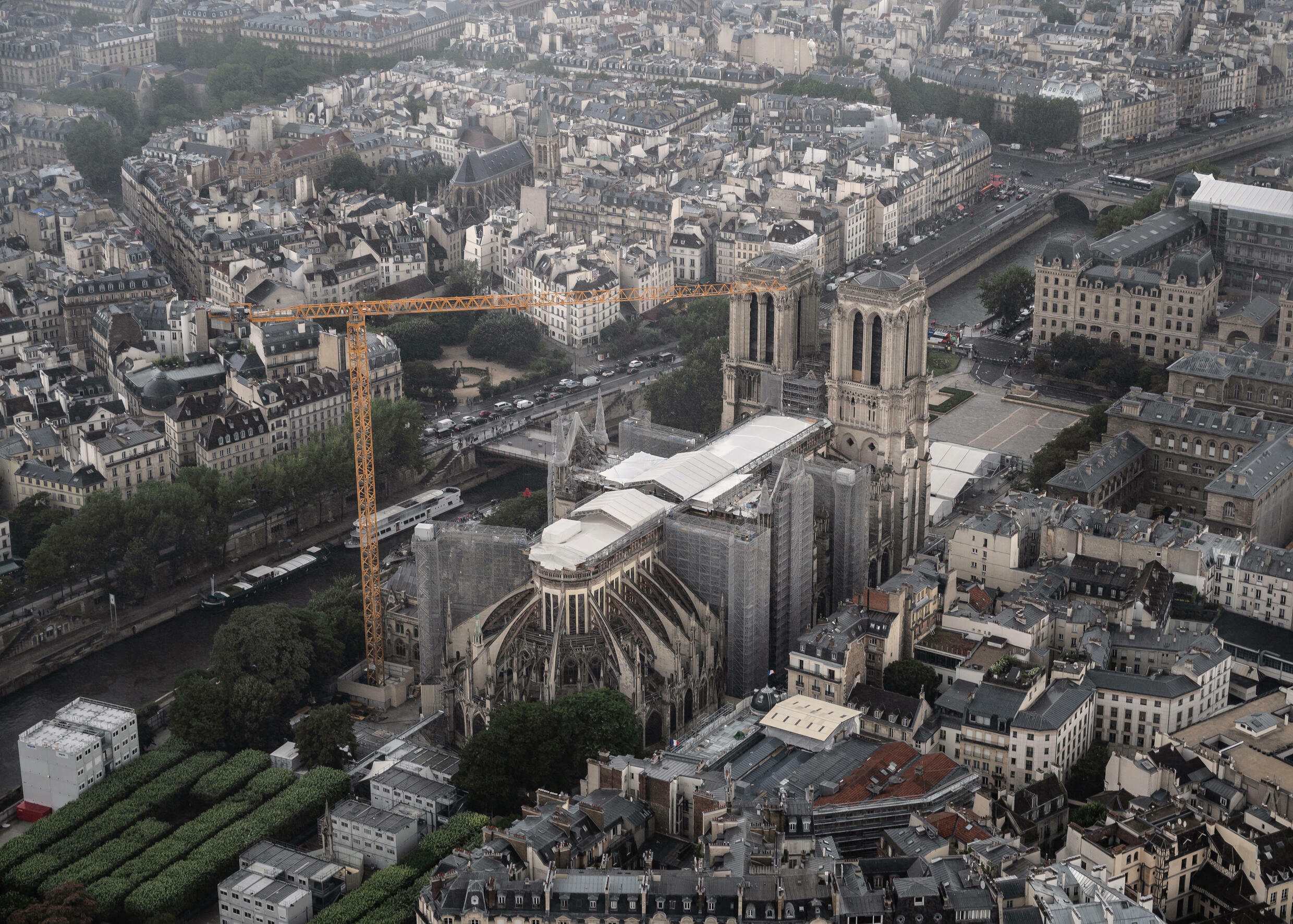 Notre-Dame de Paris survived the blaze in 2019, but the spire collapsed and much of the roof was destroyed