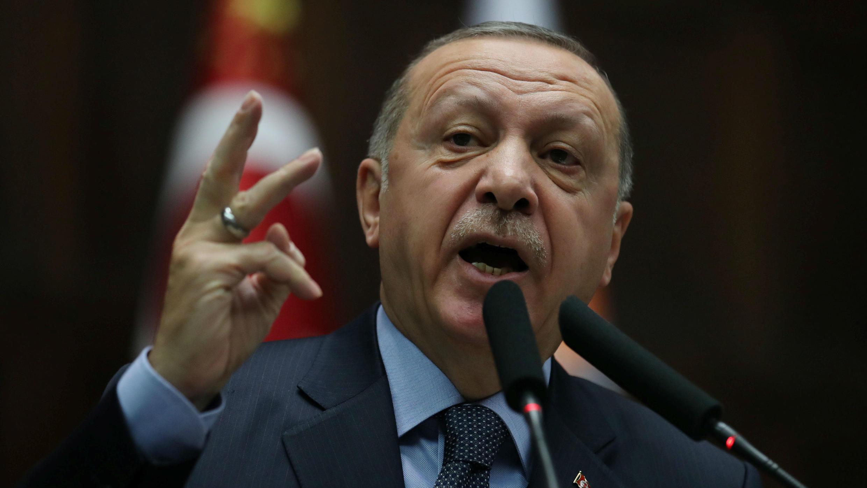 El presidente de Turquía, Recep Tayyip Erdogan, en un pronunciamiento frente al Parlamento en Ankara este 8 de enero de 2019.