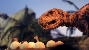 Reconstitution d'un nid de dinosaure au musée de Landsweiler-Reden en Allemagne.