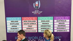 Le tirage au sort des poules de la coupe du monde de rugby 2019, à Kyoto, le 10 mai 2017.