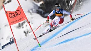 La Suissesse Lara Gut-Behrami, lors du Super-G aux Championnats du monde, le 11 février 2021 à Cortina d'Ampezzo (Italie)
