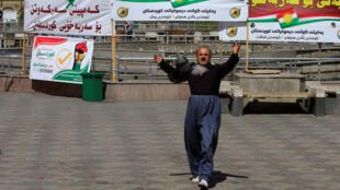 Un hombre apoyando el referendo independentista en Erbil, Irak. Septiembre 24, 2017