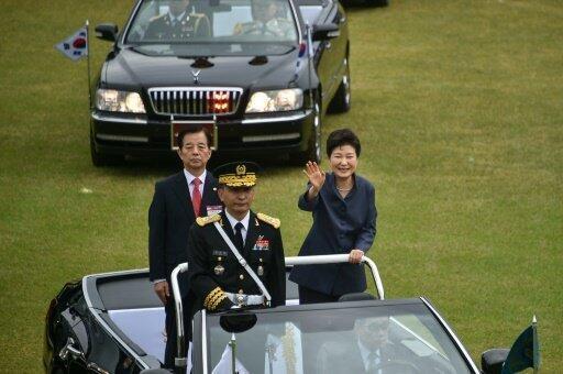 رئيسة كوريا الجنوبية بارك غيون-هي خلال الاحتفالات بمناسبة يوم القوات المسلحة. 1 أكتوبر 2016