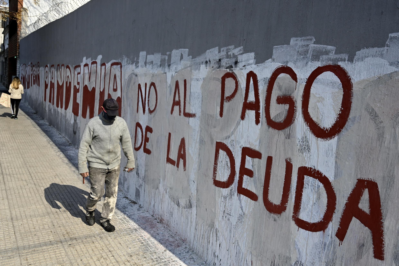 """""""Non au paiement de la dette"""", revendique ce tag dans les rues de Buenos Aires."""