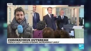 2020-03-05 17:08 Coronavirus outbreak: French president Emmanuel Macron holds talks with health experts