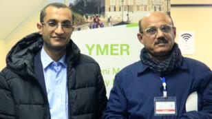 Le délégué Houthi (à gauche) et un négociateur gouvernemental (à droite), lundi 10 décembre 2018.