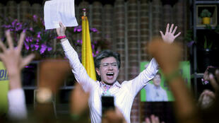 Claudia Lopez célèbre sa victoire, le 27octobre2019, à Bogota.
