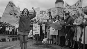 Une manifestation pour l'égalité salariale, à Trafalgar Square, à Londre, le 18 mai 1969.