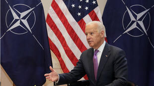 US Vice President Joe Biden gestures during a meeting with NATO Secretary General Jens Stoltenberg at the Security Conference in Munich, Germany, on February 7, 2015.