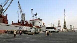 صورة من الأرشيف لميناء الحديدة، 27 كانون الثاني/يناير 2018.