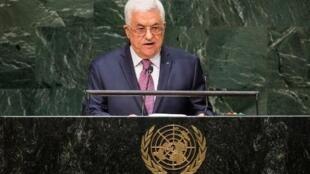 Le président de l'Autorité palestinienne, Mahmoud Abbas, à la tribune de l'ONU en septembre.