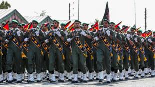 صورة وزعتها الرئاسة الإيرانية في 22 أيلول/سبتمبر 2019 تظهر عناصر الحرس الثوري الإيراني خلال عرض عسكري في طهران