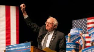 Bernie Sanders en campagne sur le campus de l'Université du Wyoming à Laramie, mardi 5 avril 2016.