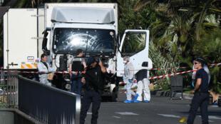 Le camion utilisé par Mohamed Lahouaiej Bouhlel pour commettre l'attaque à Nice le 14 juillet.