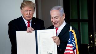 Le président américain, Donald Trump, et le Premier ministre israélien, Benjamin Netanyahou, le 25 mars 2019, à la Maison Blanche.