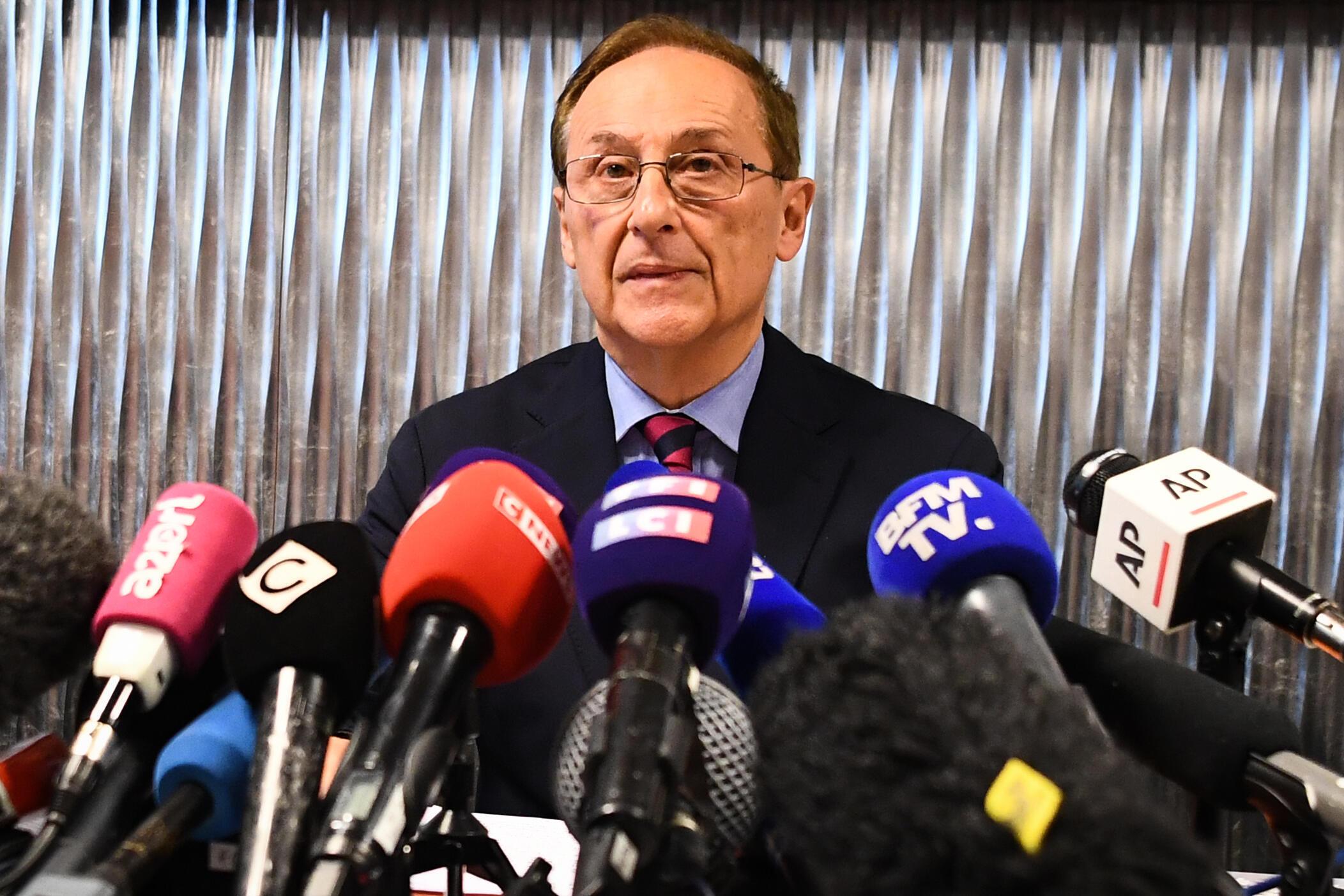 Didier Gailhaguet, président de la Fédération française des sports de glace (FFSG), lors d'une conférence de presse, le 5 février 2020.