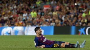 Lionel Messi lors du match nul entre le FC Barcelone et Gérone, le 23 septembre 2018.