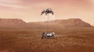 Illustration fournie le 16 février 2021 par la Nasa du rover Perseverance au moment de son atterrissage sur Mars