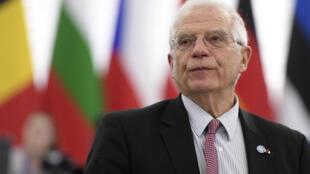 مسؤول الشؤون الخارجية في الاتحاد الاوروبي جوزيب بوريل في ستراسبورغ بتاريخ 14 كانون الثاني/يناير 2020