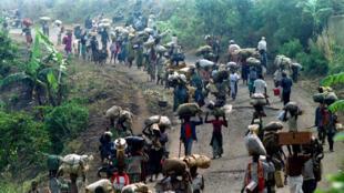 Des milliers de réfugiés rwandais tentant de fuir leur pays,  le 22 août 1994 (archives).