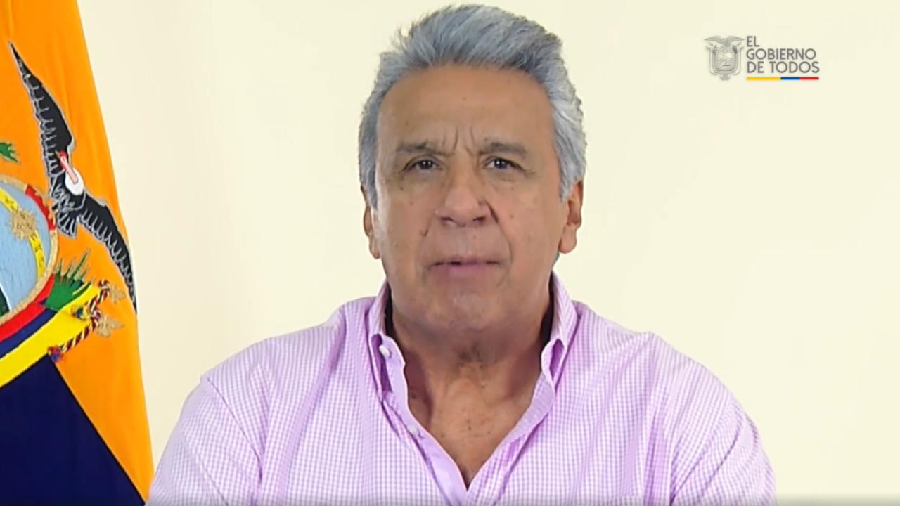 El presidente de Ecuador, Lenín Moreno, durante una alocución, el 14 de octubre de 2019, en la que confirma la derogación del polémico Decreto 883, que generó una ola de protestas en contra de su gobierno.