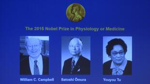 Les trois lauréats du prix Nobel de médecine 2015.