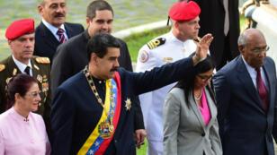 Le président Maduro arrive au Congrès où siège l'Assemblée constituante, le 10 août 2017.
