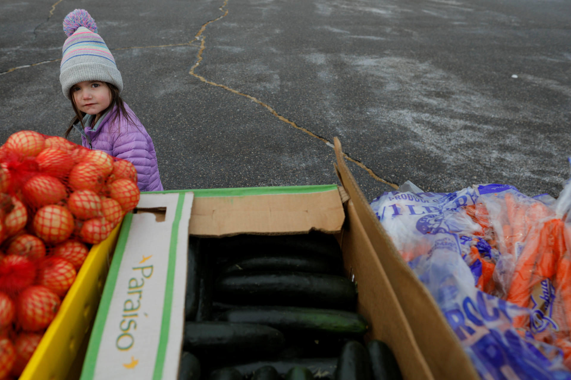 """Three-year-old Greta Croteau, the daughter of a Coast Guard member working without pay, helps her mother pick up items distributed by Gather food pantry at the US Coast Guard Portsmouth Harbor base in New Castle, New Hampshire, on January 23, 2019. Coast Guard Admiral Commandant Karl Schultz on Twitter this week called it """"unacceptable that Coast Guard men and women have to rely on food pantries and donations to get through day-to-day life as servicemembers"""" working without pay. """"Our #USCG members sail across the world to protect US national interests while their loved ones cope w/ financial challenges & no pay at home,"""" Schultz tweeted."""