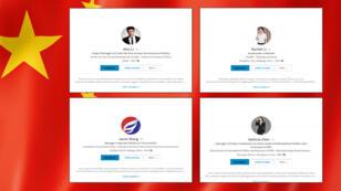 Quatre des profils LinkedIn gérés par les services de renseignement chinois.