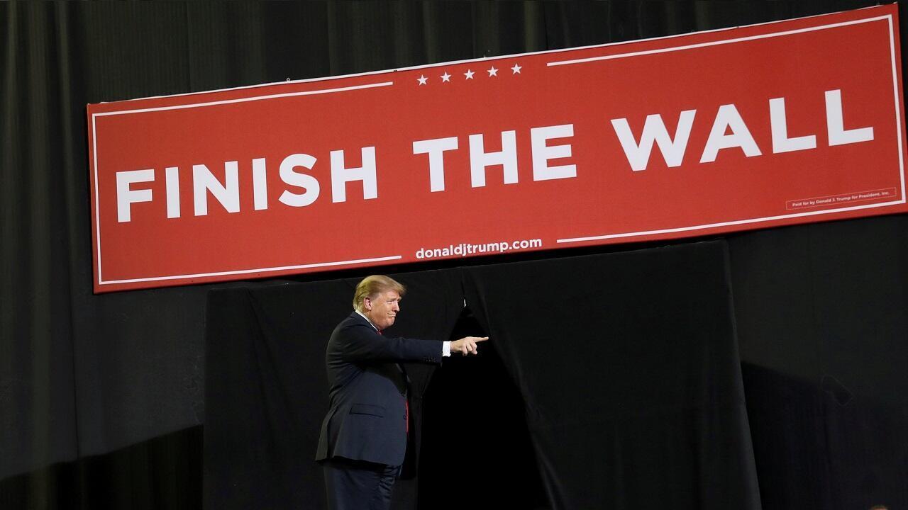 El presidente Donald Trump durante el discurso que pronunció en la localidad fronteriza de El Paso, en Texas, el 11 de febrero de 2019.