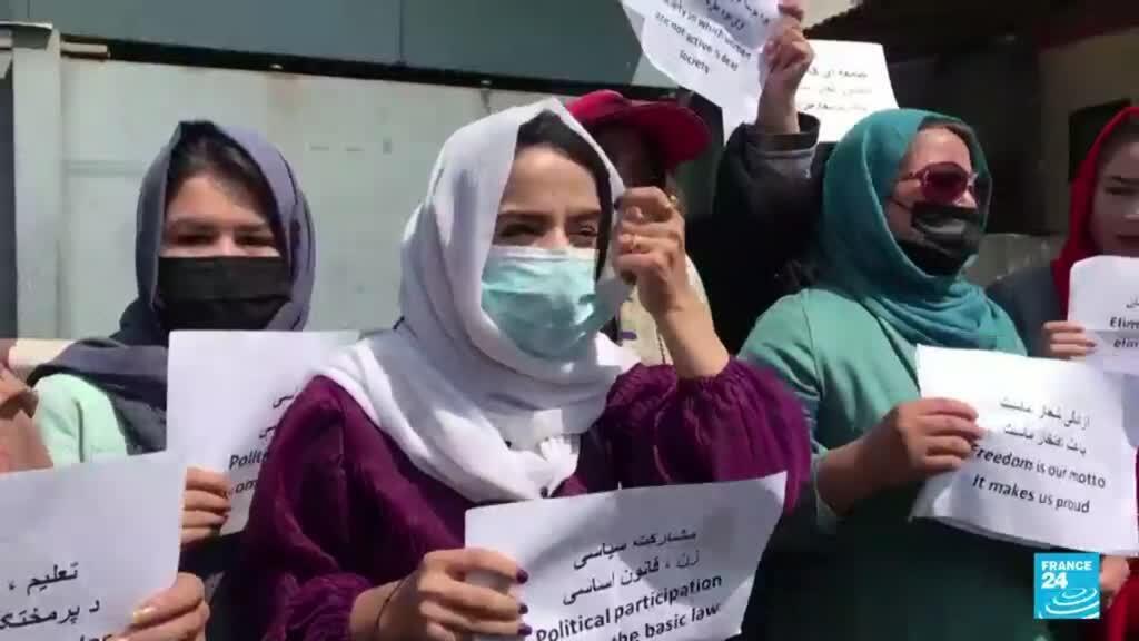 2021-09-19 19:05 Mujeres afganas vuelven a protestar para que se les permita participar en política y educación