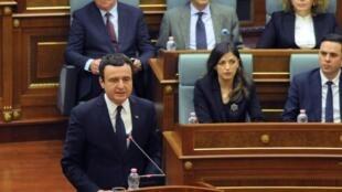 Prime Minister of Kosovo Albin Kurti delivers a speech during a parliament session in Pristina, Kosovo, on February 3, 2020.
