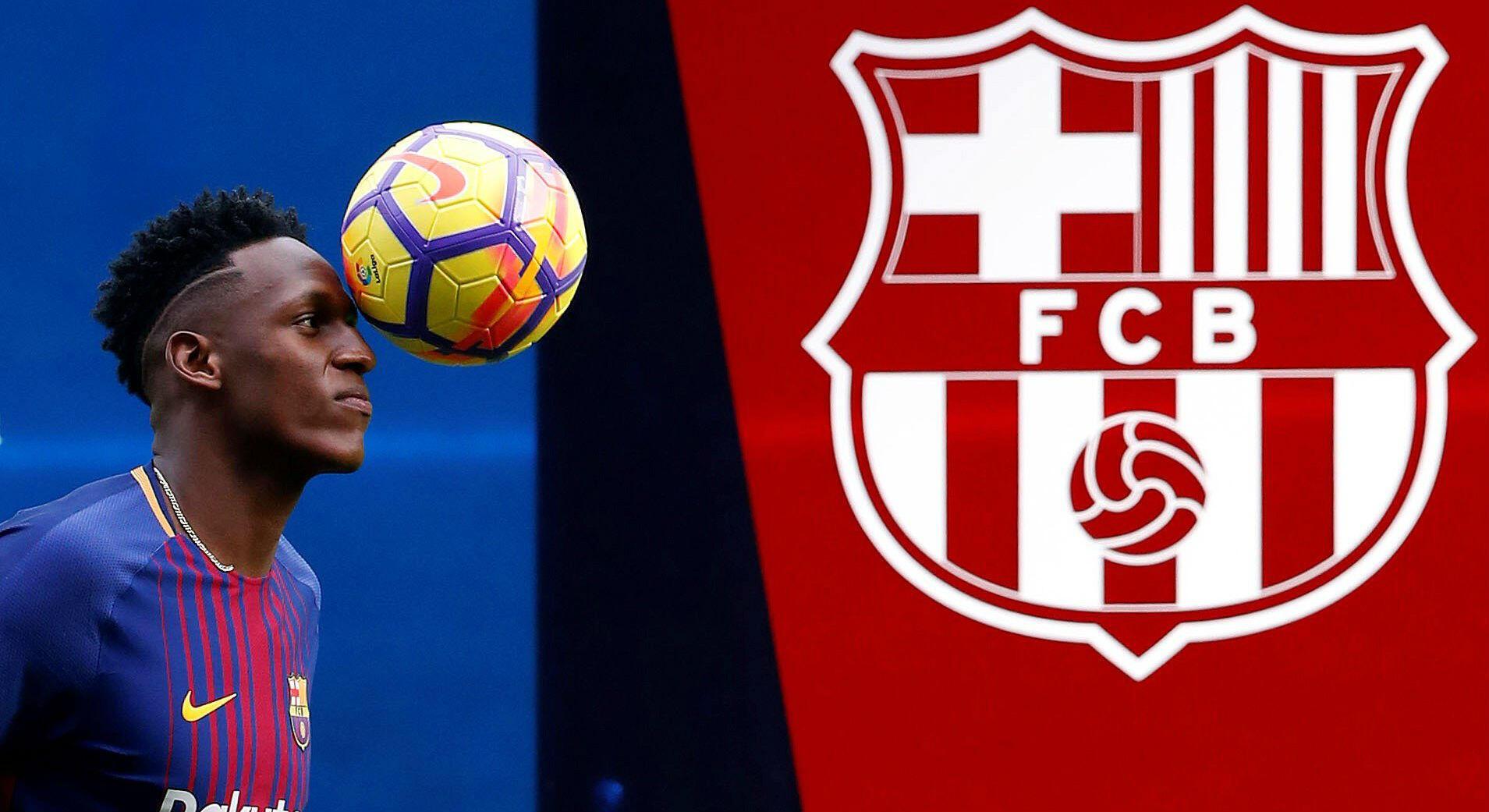 El central colombiano Yerry Mina durante su presentación como nuevo jugador del FC Barcelona el 13 de enero 2018