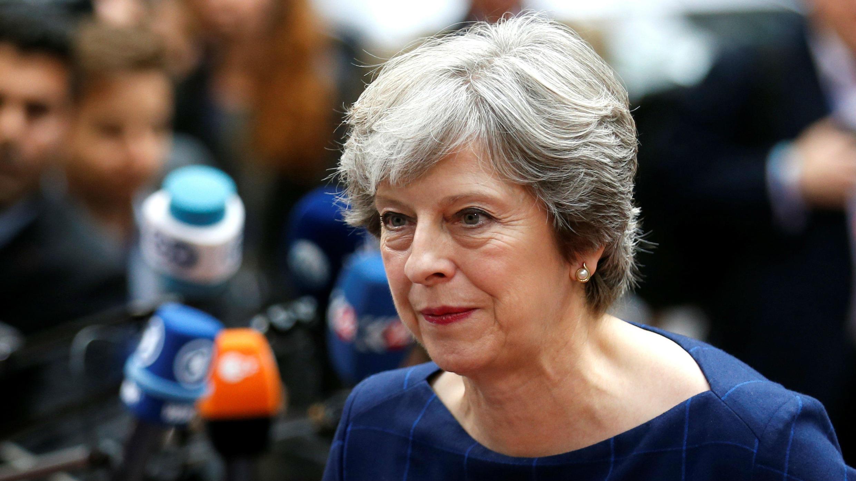 La primera ministra, Theresa May, durante su llegada a la cumbre en Bruselas.