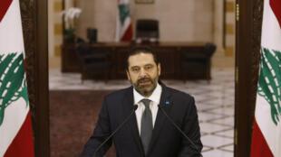 Le Premier ministre libanais Saad Hariri a prononcé un discours devant le siège du gouvernement au centre de la capitale Beyrouth, le 18 octobre 2019.