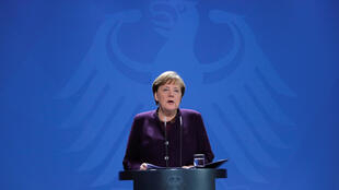 German Chancellor Angela Merkel at a conference in Berlin on March 16, 2020.