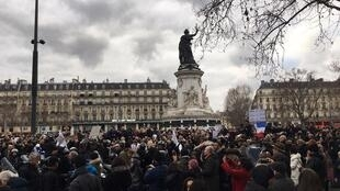 Members of the French Jewish community and their supporters gather to protest the Paris Appeal Court's verdict in the trial of Sarah Halimi's attacker at the Place de la République in Paris on January 5, 2019.