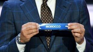 اسم المغرب خلال قرعة مونديال 2018 في روسيا، في الأول من كانون الأول/ديسمبر 2017.