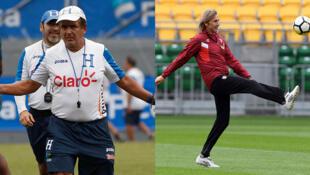 El seleccionador de Honduras, Jorge Luis Pinto y el entrenador de Perú, Ricardo Gareca.