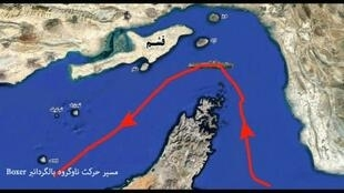 An image grab taken from a broadcast by Iran's Islamic Revolutionary Guard Corps (IRGC) on July 19, 2019 reportedly shows footage from an IRGC drone, showing a map of the route taken by the US amphibious assault ship USS Boxer; the US is about to send troops into Saudi Arabia