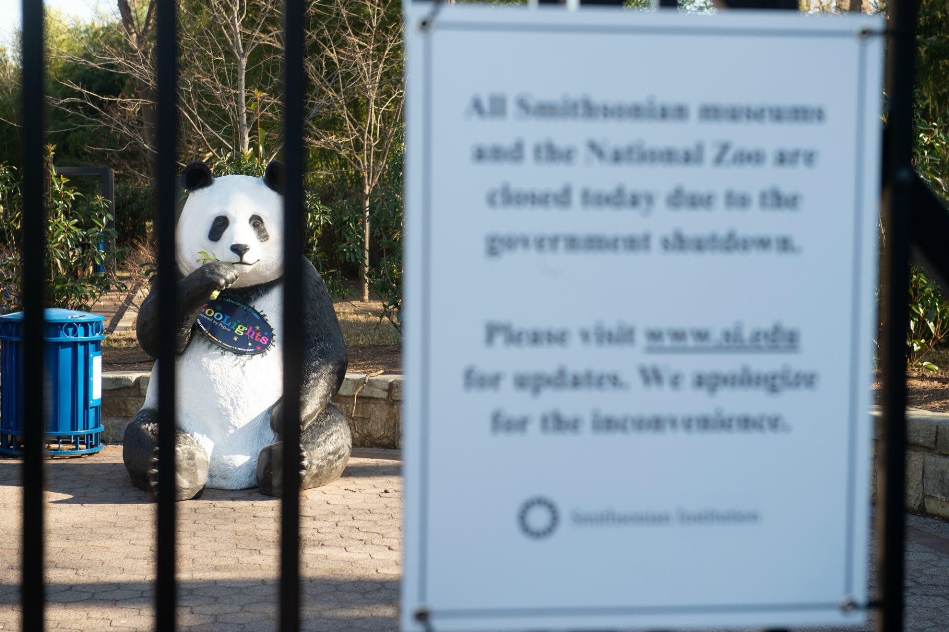 A sign at the entrance of the Smithsonian National Zoo in Washington, DC, closed due to the government shutdown, on January 11, 2019. On Thursday, two bills aimed at ending the six-week-old crisis – one that included funding for President Donald Trump's contentious $5.7 billion US-Mexico border wall and another Democrat-backed measure that did not – failed in the Senate, sending lawmakers back to the drawing board.
