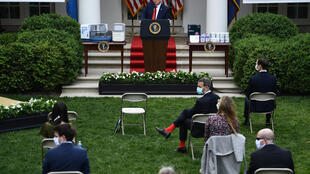 US President Donald Trump at a press conference in the White House Rose Garden