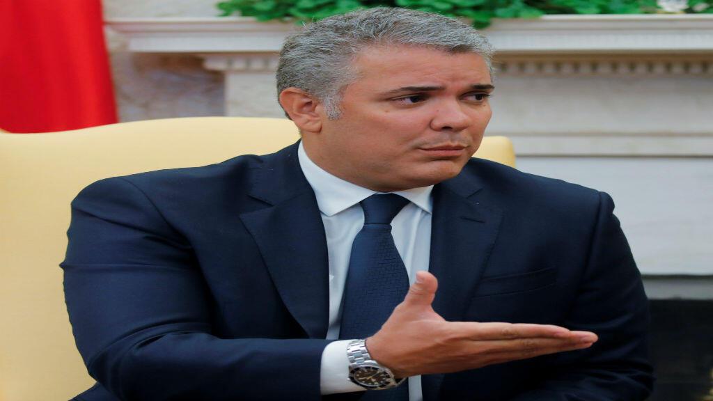 El presidente colombiano, Ivan Duque, habla durante una rueda de prensa, en la Oficina Oval de la Casa Blanca en Washington, EE. UU., El 13 de febrero de 2019.