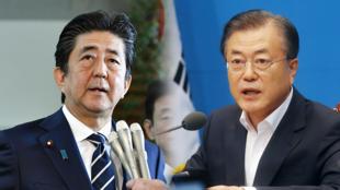 El primer ministro de Japón, Shinzo Abe; y el presidente de Corea del Sur, Moon Jae-in, mantienen una disputas comerciales e históricas.