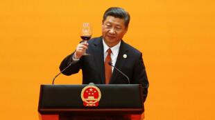 """Le président chinois Xi Jinping à l'ouverture du deuxième sommet des """"routes de la soie""""."""