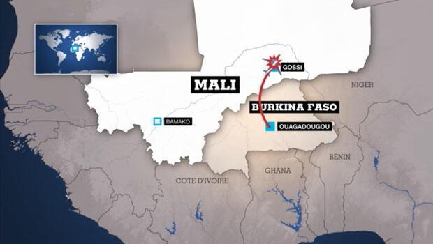 Infographie : les restes du vol AH5017 ont été retrouvés au Mali, entre Gossi et la frontière du Burkina Faso