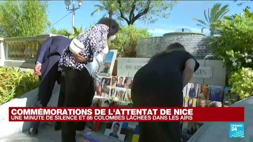 2021-07-14 17:09 Commémorations de l'attentat de Nice : une minute de silence et 86 colombes lâchées dans les airs
