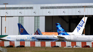 Planes at an Airbus plant in Hamburg, Germany, March 16, 2020.