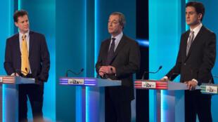 Nick Clegg, Nigel Farage et Ed Miliband lors d'un débat télévisé le 2 avril 2015.