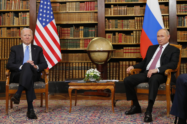 US President Joe Biden meets with Russian President Vladimir Putin at the Villa la Grange in Geneva